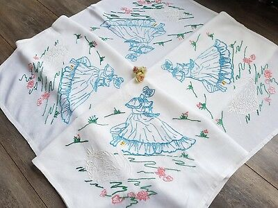 Wonderful Vintage Hand Embroidered Linen Tablecloth with Crinoline Ladies &Swans