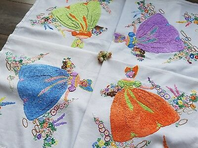 Exquisite Vintage Hand Embroidered Linen Tablecloth with Crinoline Ladies