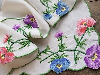 Beautiful Vintage Hand Embroidered Linen Traycloth with Anemones