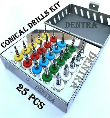 Dental Implant Conical Drills Kit 25 Pcs with Stoppers Surgical Tools NEW