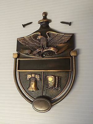 Vintage Bicentennial Brass Door Knocker Eagle Flag Liberty Bell Nos