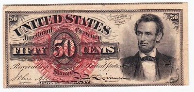 50 CENT Fractional Currency Fr 1374 Fourth Issue Rare Abe Lincoln Nice Mid Grade