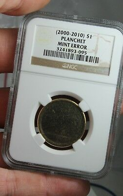 NGC 2000 - 2010 Blank Planchet Certified Mint Error $1 Dollar Coin
