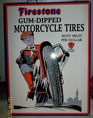 Awesome Heavy Steel Firestone Gum-Dipped Motorcycle Tires Sign, Great Colors