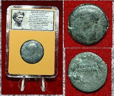 Roman Empire Coin AUGUSTUS Colonia Patricia Bust of Emperor AUGUSTUS On Obverse