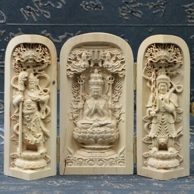 Chinese Boxwood Handmade Carved Three Saints Kwan-yin Open Box SK15