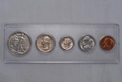 1945 US SILVER Year Set + Wheat Penny 5 Coins In Whitman Holder AU/BU (75G)