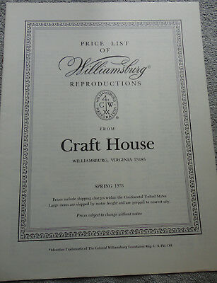 Williamsburg Reproductions Craft House Spring 1978 Price List