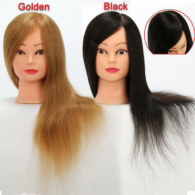 100% Real Human Hair Hairdressing Training Head Mannequin Styling Dolls Head
