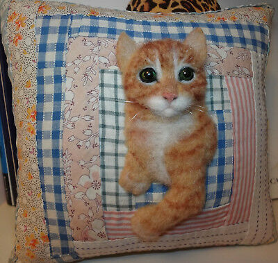 TABBY CAT ON ANTIQUE QUILT CUPBOARD PILLOW ~ ORIGINAL FABRIC ART by Renate'