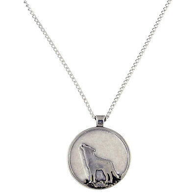 St Justin Pewter Enamel Howling Wolf Moon Pendant Necklace in Gift Box UK Made