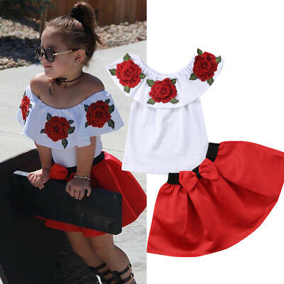 US Toddler Kids Baby Girls Off Shoulder Top Mini Skirt Dress Outfits Set Clothes