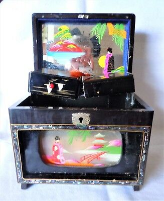 Vintage 1960's Japanese Wooden Musical Jewelry Box Black Lacquer with Painting