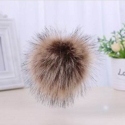 Large Faux Fox Fur Pom Pom Ball with Press Button for Knitting Hat DIY