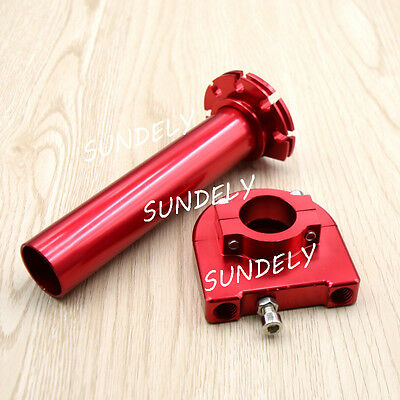 "SUNDELY 7/8"" 22mm Red CNC Aluminum Universal Motorcycle Twist Throttle Assembly"