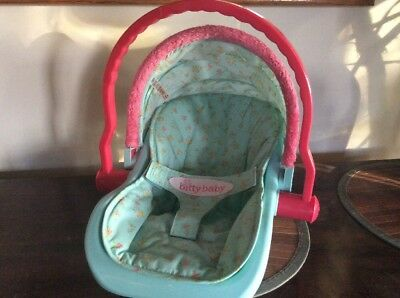 American Girl Bitty Baby Teal Fuschia Car Seat Carrier With Canopy