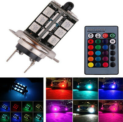 2Pcs Car RGB Coloful H7 LED Bulbs Fog Light Lamp 5050 27SMD with Remote Control