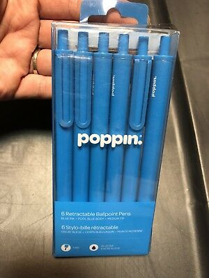 Set of 6  Blue POPPIN retractable Gel luxe pens .7mm Fine Pt Blue Ink Click Clip