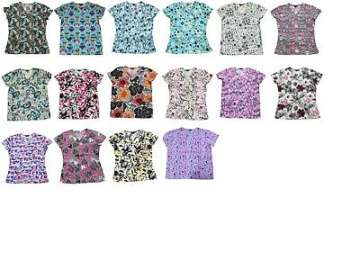 Womens Fashion Medical Nursing Scrub Tops Printed Plus Size XL-4XL