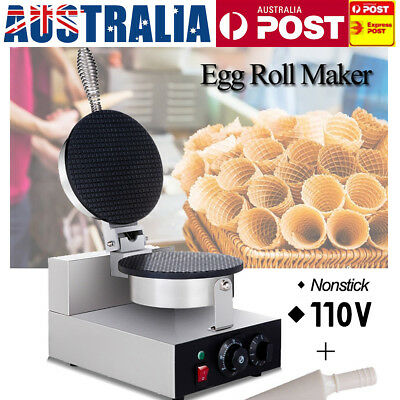 AU 110V Electric Ice Cream Cone Waffle Baker Machine Nonstick Egg Roll Maker