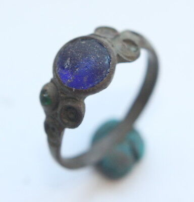 Ancient Medieval Bronze Finger Ring With Inlay (ARL)