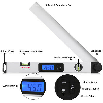 "Digital Electronic Angle Finder 0-230° Protractor 410mm(16"") Ruler Meter Tool UK"