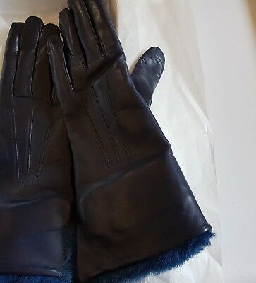 BNWT RRP 140 Euros Ladies soft leather Cobalt blue gloves made in Italy Size 8