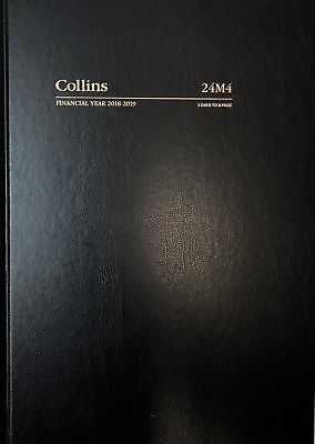 2018 2019 Collins A4 2 Days to a Page Financial Year Diary Hardcover 24M4 Black