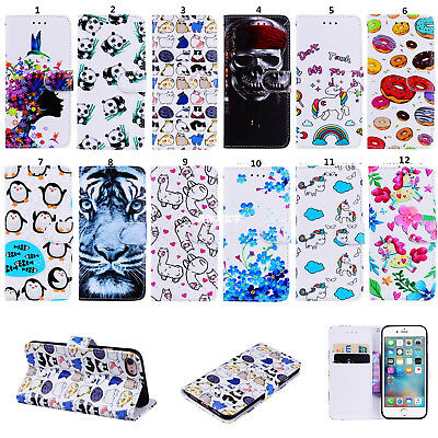 Folio Flip Magnetic Leather Case Card Holder Cover for iPhone 5s 6s 7 8 Plus X