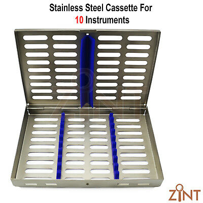 Stainless Steel Cassette Tray Rack For 10 Instruments Surgical Implant Lab Tools