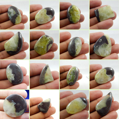 100% Natural Nice Alo Prehnite Nice Green Colour Cab Gemstone L#14