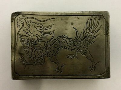 Vintage Chinese Pewter Match Box Holder, With Engraved Dragon.