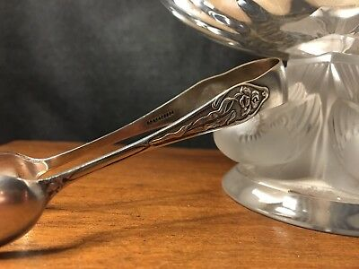 Lovely Antique Pair Of Silver Plated Art Nouveau Sugar Tongs