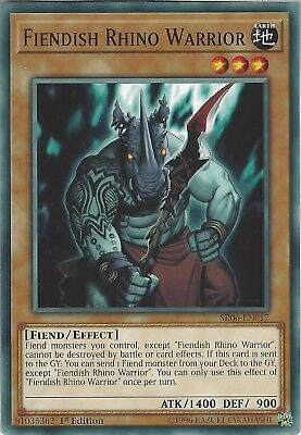 3x Yu-Gi-Oh: FIENDISH RHINO WARRIOR - SR06-EN017 - 3 Common Cards - 1st Edition