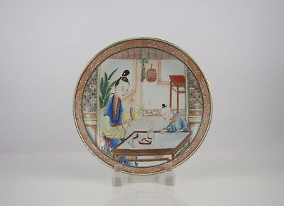 A very Nice Gilt Famille Rose 'Lady and Kid' Dish