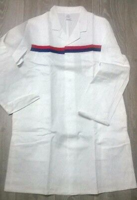 "MENS white red blue lab work coat, hospital NHS science 38"" chest Size Medium"