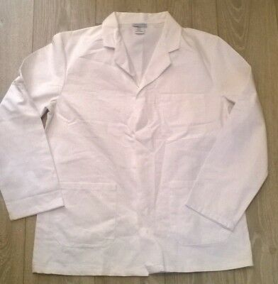 "MENS white short lab work dust coat jacket, Science 33"" chest Size Small"