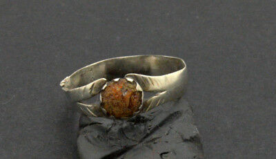 Post medieval period Silver ring with amethyst gemstone. 18 Century.