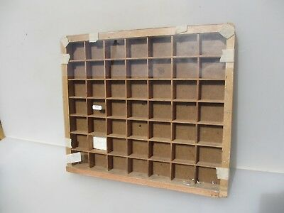 Vintage Wooden Printers Drawer Tray Wall Display Rack Letterpress Glass Fronted