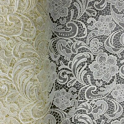 17 Colors Maggie Guipure Venice Medium to Heavy Weight Lace Fabric by the Yard