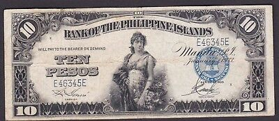 US Philippines Banknote 10 Pesos 1933 Bank of Philippine Island SN# D46345D