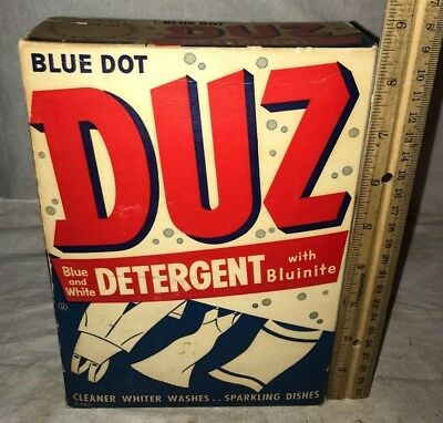 Antique Unopened Duz Blue Dot Vintage Laundry Soap Detergent Cleaner Box Washer