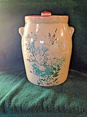 Antique  Stoneware Two Handle Crock with Lid & Floral Design