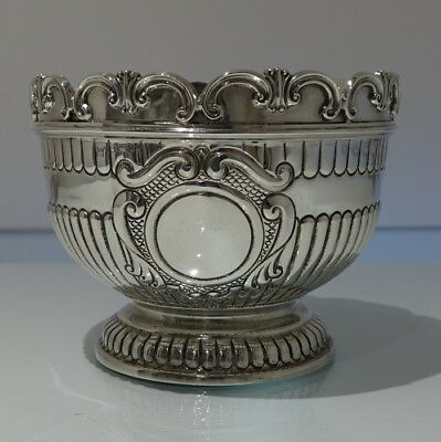 Early 20th Century Antique Edwardian Sterling Silver Small Rose/Monteith Bowl