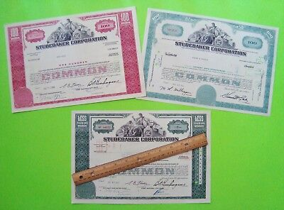 3 Diff 1960's STUDEBAKER CORP. STOCK CERTIFICATES - RED Teal GREEN Original XLNT