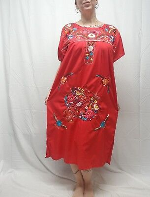 Vtg Red Hand Embroidered Mexican Caftan Dress Peacock Ethnic Nordic Floral M/L