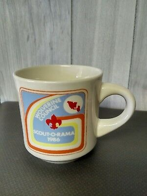 Vintage RARE Scout O Rama 1968 Wolverine Council Coffee Mug Boy Scouts cubs