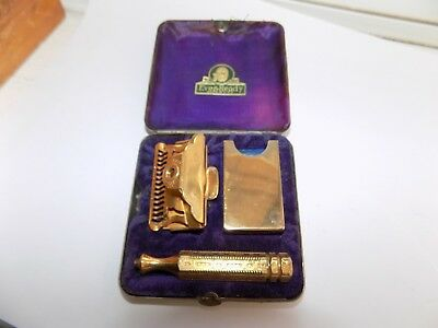 Vintage 1912 Ever-Ready Gold Plated Flip Top Single Edge Safety Razor & Case