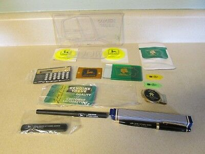 Lot Of John Deere Desk Miscellaneous Items Pens, Mirror, Tags, Calculator, Clips