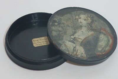 1810 Large round French (Georgian period) hand painted snuff box.